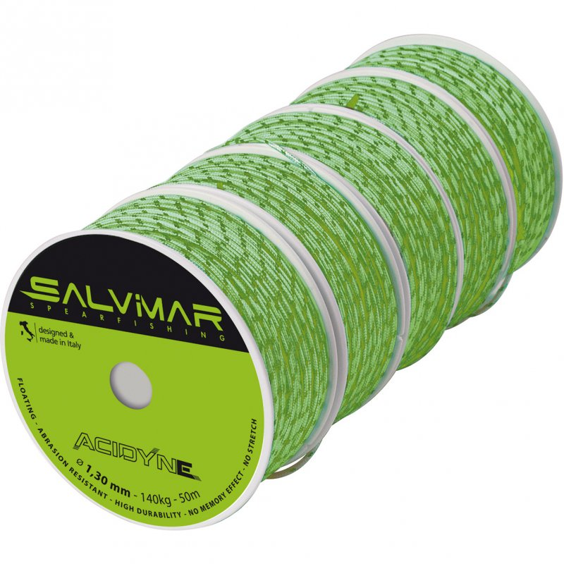 Катушечный линь SALVIMAR ACIDYNE Dyneema ø1,3 mm ярко-зелёный (метр)