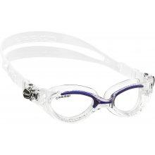 Очки  для плаванья CRESSI FLASH  силикон прозрачный, оправа голубая, зеркальная оптика
